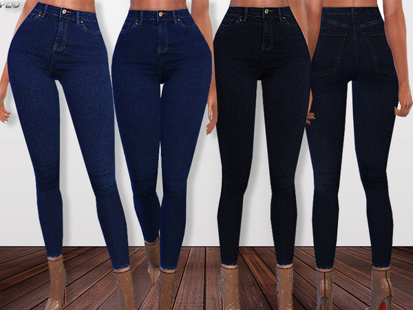 Sims 4 Skinny Fit Denim Jeans 092 by Pinkzombiecupcakes at TSR