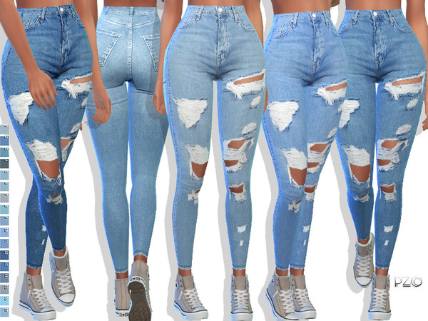 Sims 4 097 Denim Jeans by Pinkzombiecupcakes at TSR