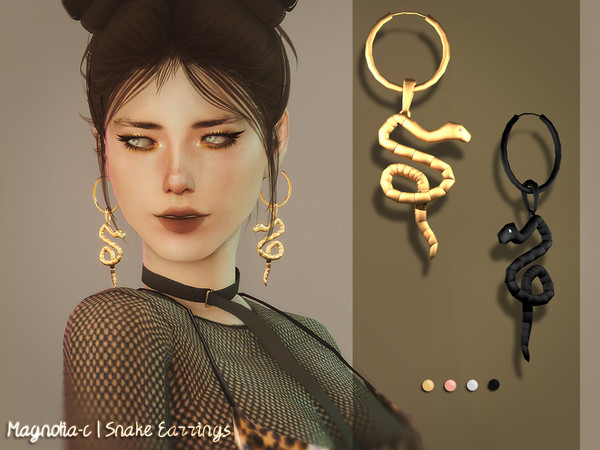 Sims 4 Snake Earrings by Magnolia C at TSR