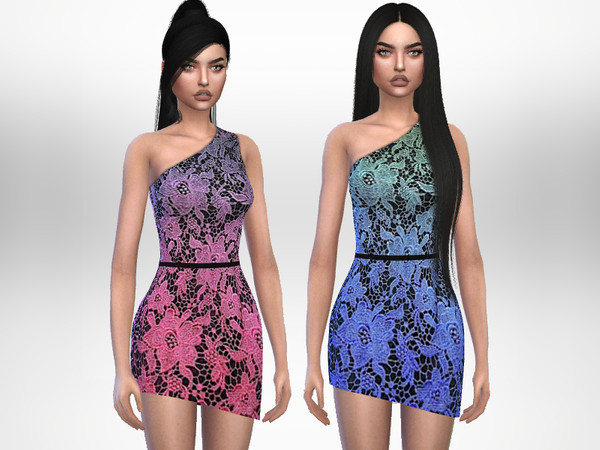 Sims 4 Gradient Dress by Puresim at TSR