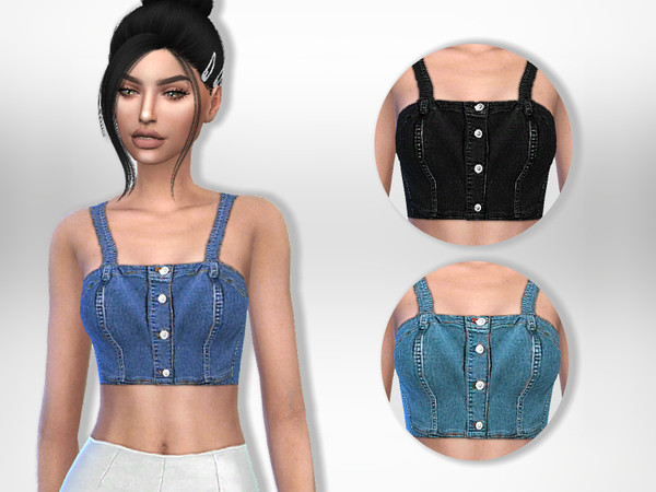 Sims 4 Denim Top by Puresim at TSR