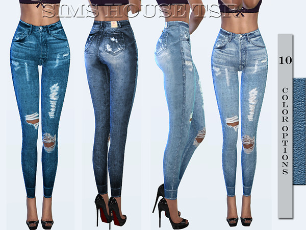 Sims 4 Lightly ripped jeans by Sims House at TSR