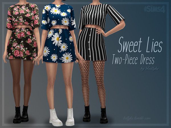 Sims 4 Sweet Lies Two Piece Dress by Trillyke at TSR
