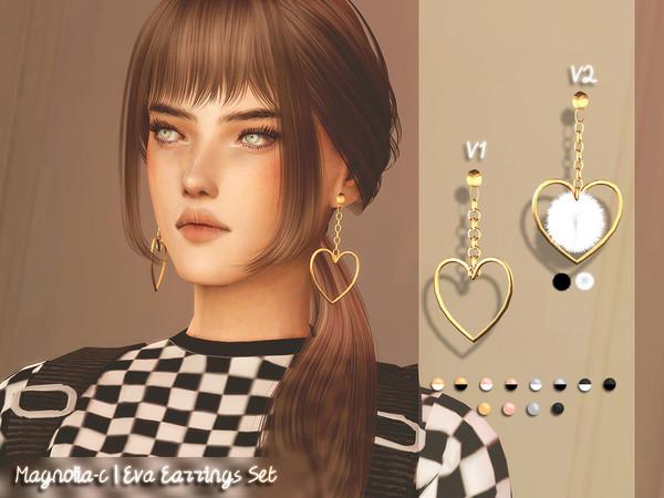 Sims 4 Eva Earrings Set by Magnolia C at TSR