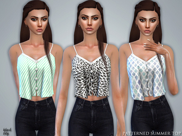 Sims 4 Patterned Summer Top by Black Lily at TSR