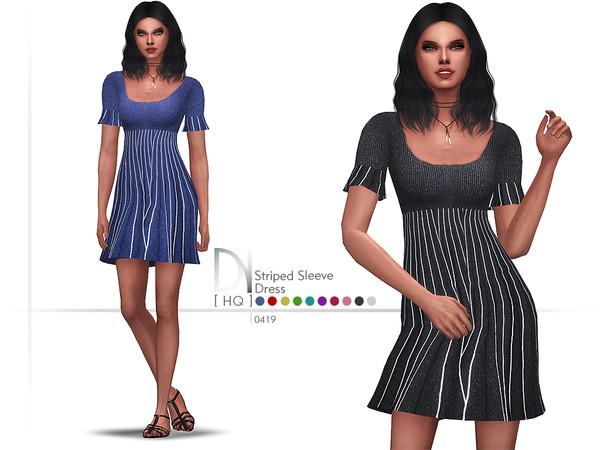 Sims 4 Striped Sleeve Dress by DarkNighTt at TSR