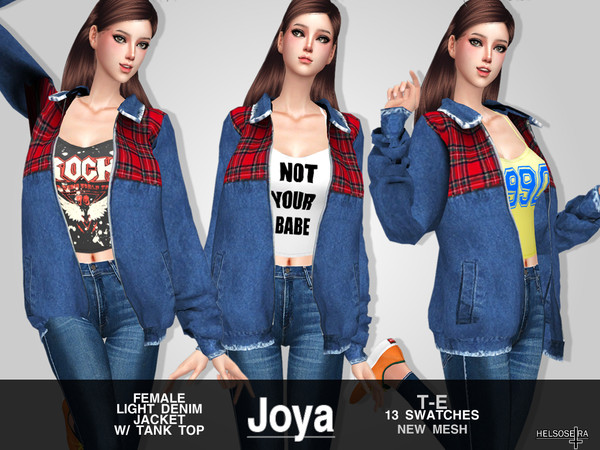 Sims 4 JOYA Denim Jacket w/ Tank Top by Helsoseira at TSR