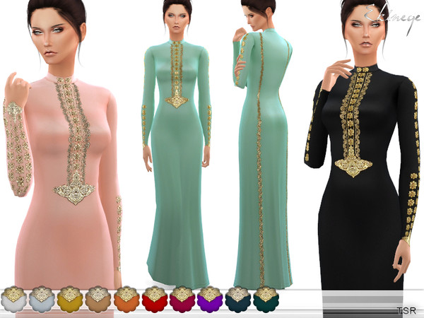 Sims 4 Embroidery Dress by ekinege at TSR