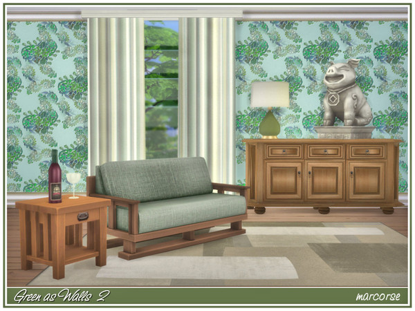Sims 4 Green As Walls by marcorse at TSR