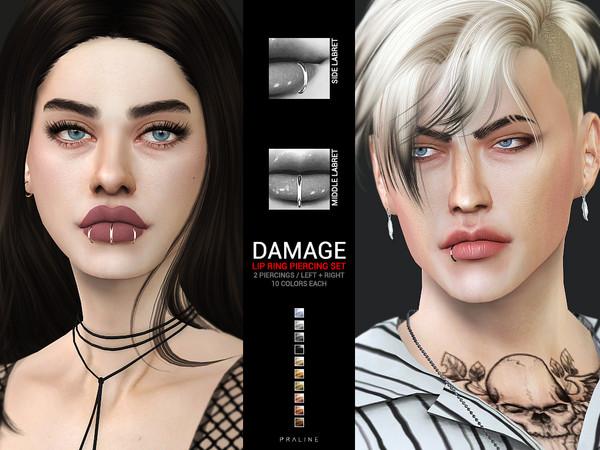 Sims 4 Damage Lip Ring Piercing Set by Pralinesims at TSR