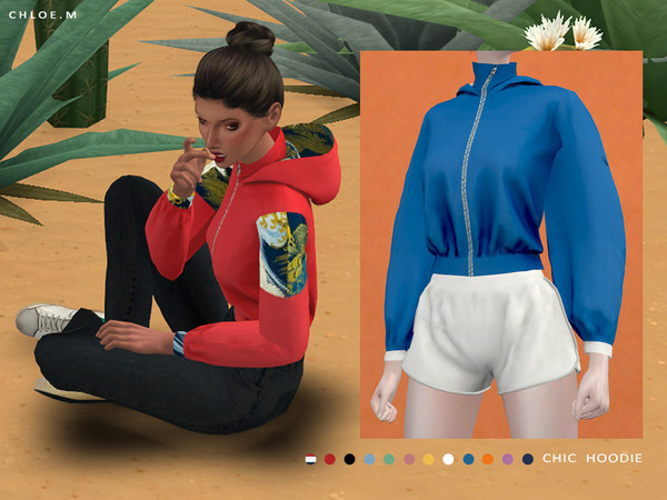 Sims 4 Chic Hoodie Pure Color by ChloeMMM at TSR