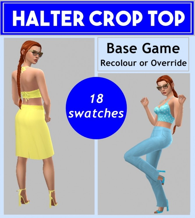 Sims 4 BG HALTER CROP TOP at Sims4Sue