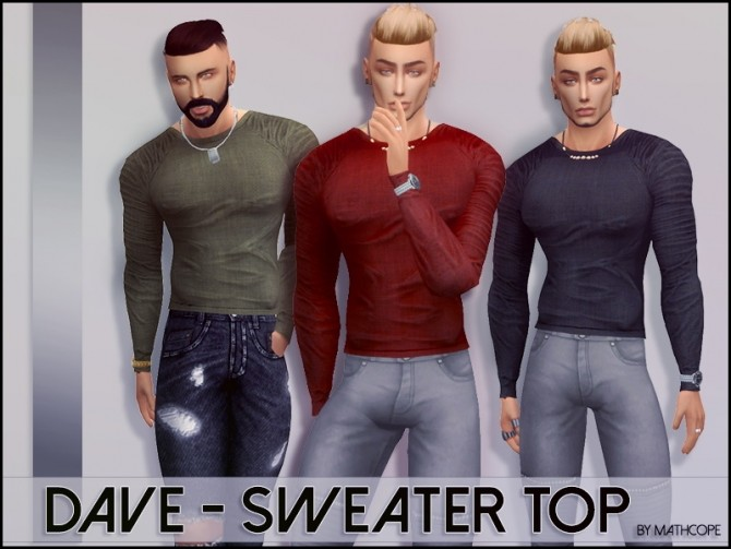 Sims 4 Dave sweater top by Mathcope at Sims 4 Studio