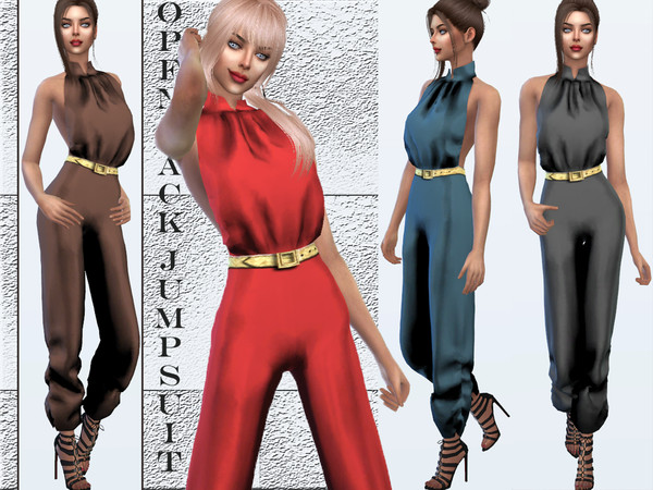 Sims 4 Open back jumpsuit by Sims House at TSR