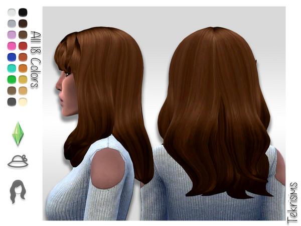 Sims 4 Rosario thick mid length hair by TekriSims at TSR