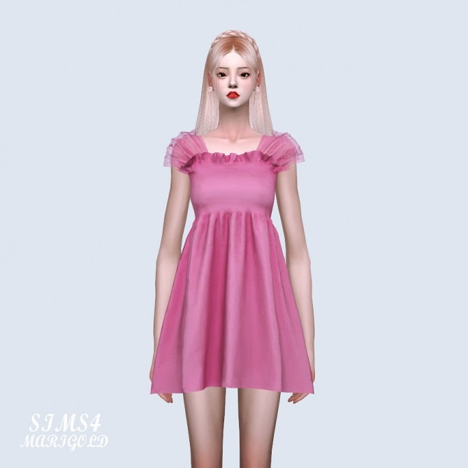 Shoulder Mesh Mini Dress (P) at Marigold image 6612 670x670 Sims 4 Updates