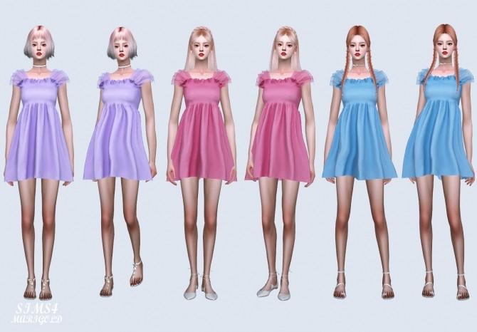 Shoulder Mesh Mini Dress (P) at Marigold image 69111 670x466 Sims 4 Updates