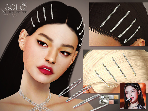 Solo Glitter Hairpins by Pralinesims at TSR image 7011 Sims 4 Updates