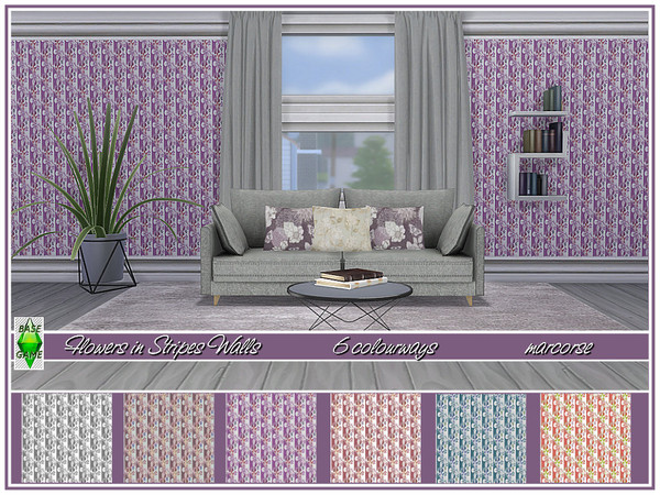 Flowers in Stripes Walls by marcorse at TSR image 7106 Sims 4 Updates
