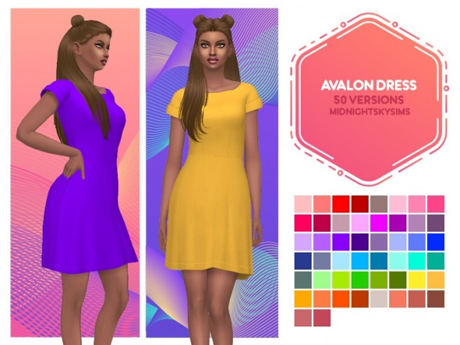 Avalon, Rosa and Cotton Candy dress recolors at Midnightskysims image 724 670x503 Sims 4 Updates