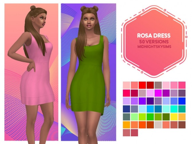 Avalon, Rosa and Cotton Candy dress recolors at Midnightskysims image 735 670x503 Sims 4 Updates