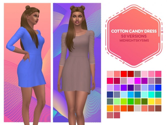 Avalon, Rosa and Cotton Candy dress recolors at Midnightskysims image 745 670x503 Sims 4 Updates