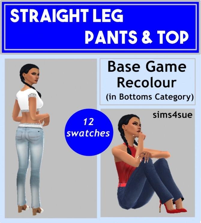 Sims 4 STRAIGHT LEG PANTS & TOP at Sims4Sue