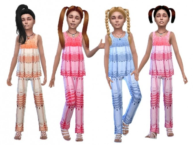 Sims 4 Linen and lace set for girls at Trudie55