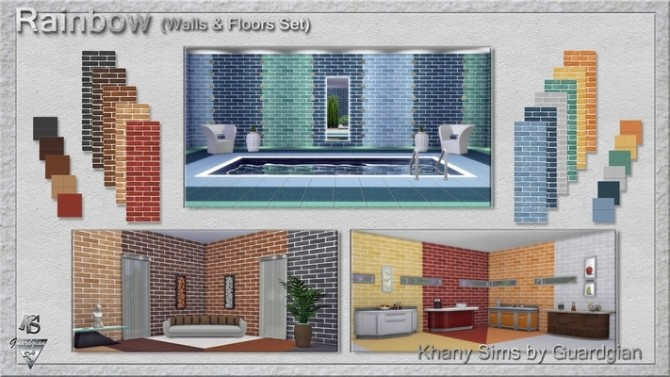 Rainbow set (matching walls and floors) by Guardgian at Khany Sims image 793 670x377 Sims 4 Updates