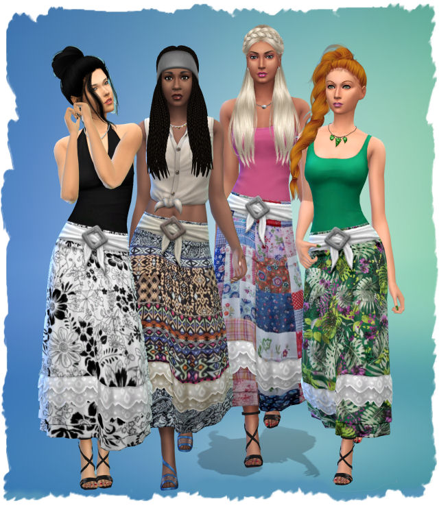 Sims 4 Strangerville skirt with patterns by Chalipo at All 4 Sims