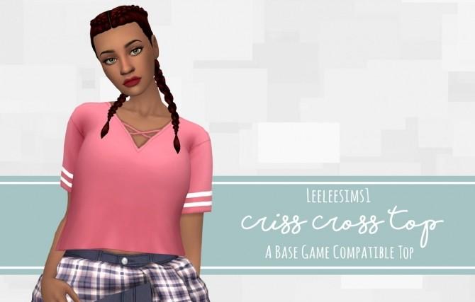 Sims 4 Criss Cross Top at leeleesims1