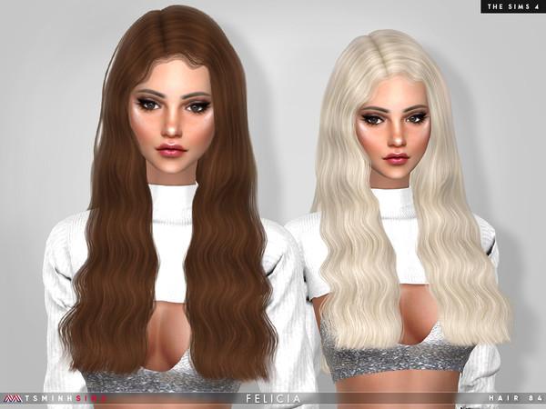 Sims 4 Felicia Hair 84 by TsminhSims at TSR
