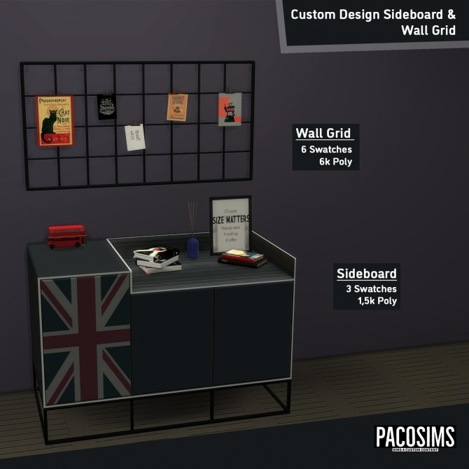 Sims 4 Custom design sideboard and wall grid (P) at Paco Sims