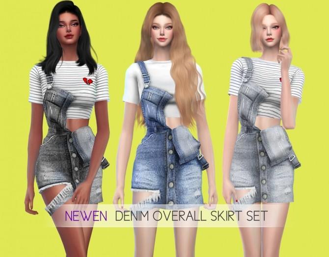 Sims 4 Denim Overall Skirt Set at NEWEN