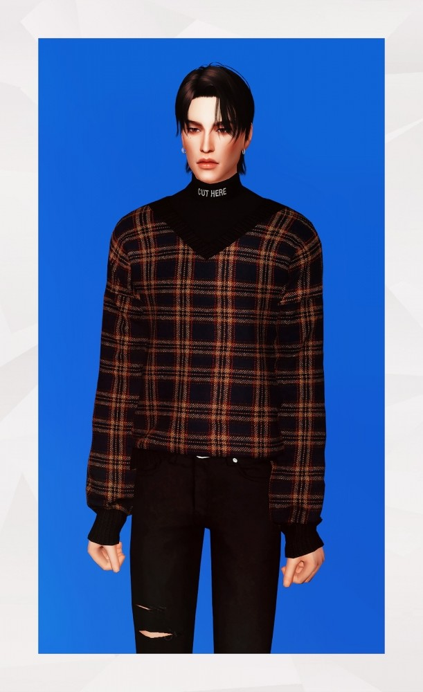Sims 4 V Neck Sweater With Turtleneck at Gorilla