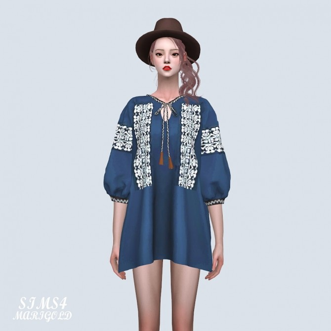 Tassel Ethnic Blouse Dress at Marigold image 9120 670x670 Sims 4 Updates