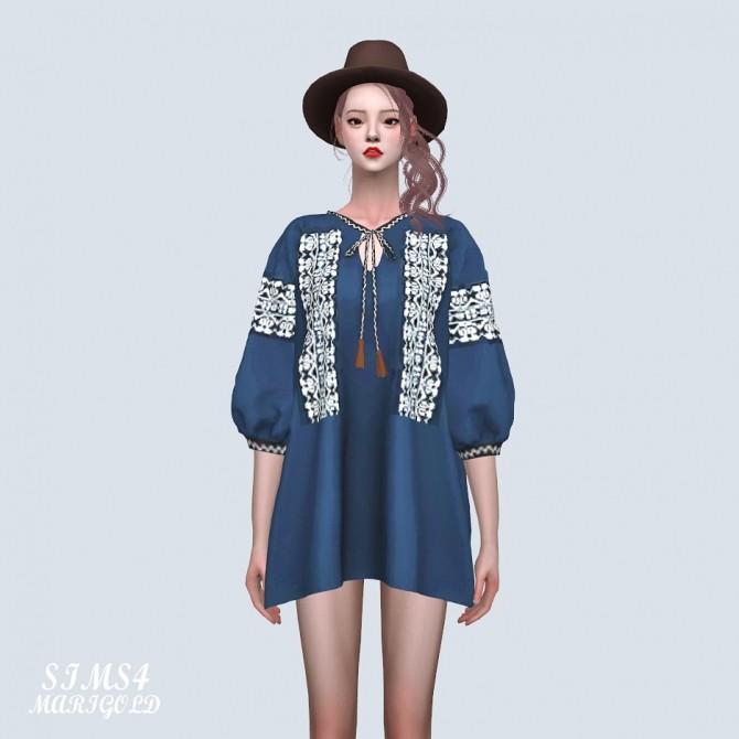 Sims 4 Tassel Ethnic Blouse Dress at Marigold