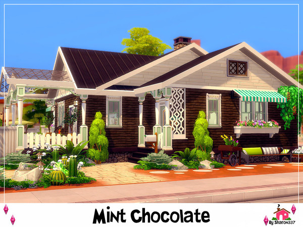 Sims 4 Mint Chocolate house Nocc by sharon337 at TSR
