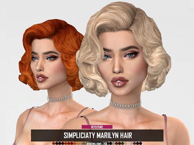 Sims 4 RUCHELLSIMS SIMPLICIATY MARILYN HAIR RETEXTURE at REDHEADSIMS