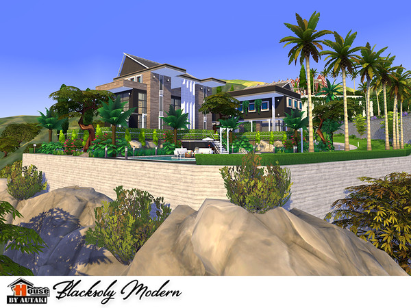 Blacksoly Modern house by autaki at TSR image 10 Sims 4 Updates