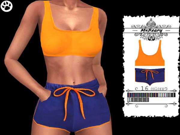 Tanktop With Drawstring Shorts SET by MsBeary at TSR image 10105 Sims 4 Updates
