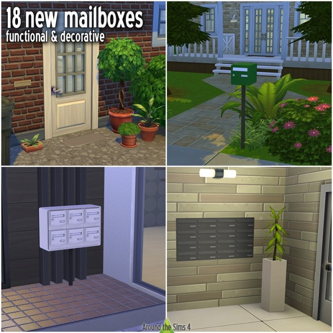 Sims 4 Functional Mailboxes by Sandy at Around the Sims 4