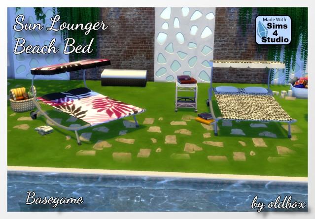 Sims 4 Beach Bed / Sun Lounger by Oldbox at All 4 Sims