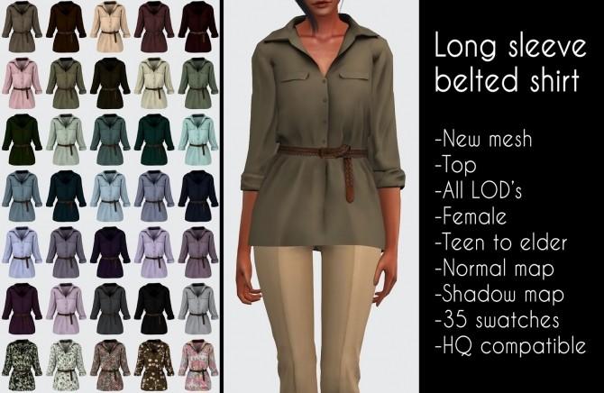 Sims 4 Long sleeve belted shirt at LazyEyelids