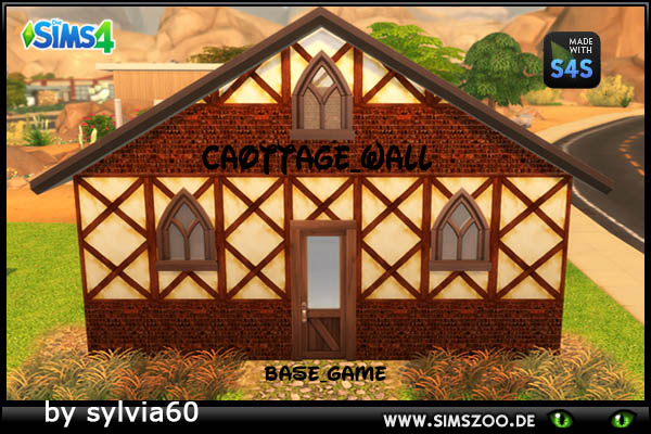 Sims 4 Cottage Wall by sylvia60 at Blacky's Sims Zoo