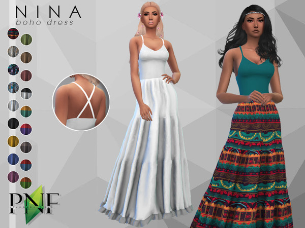 Sims 4 NINA boho dress by Plumbobs n Fries at TSR