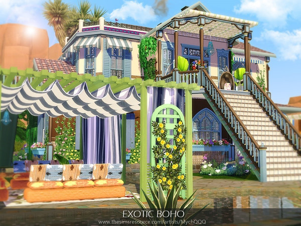 Sims 4 Exotic Boho house by MychQQQ at TSR