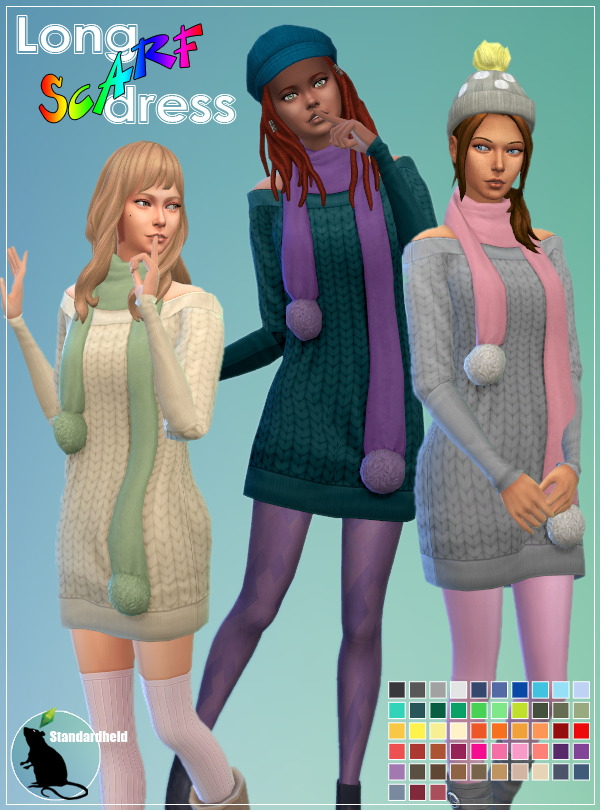Sims 4 Long Scarf Dress at Standardheld