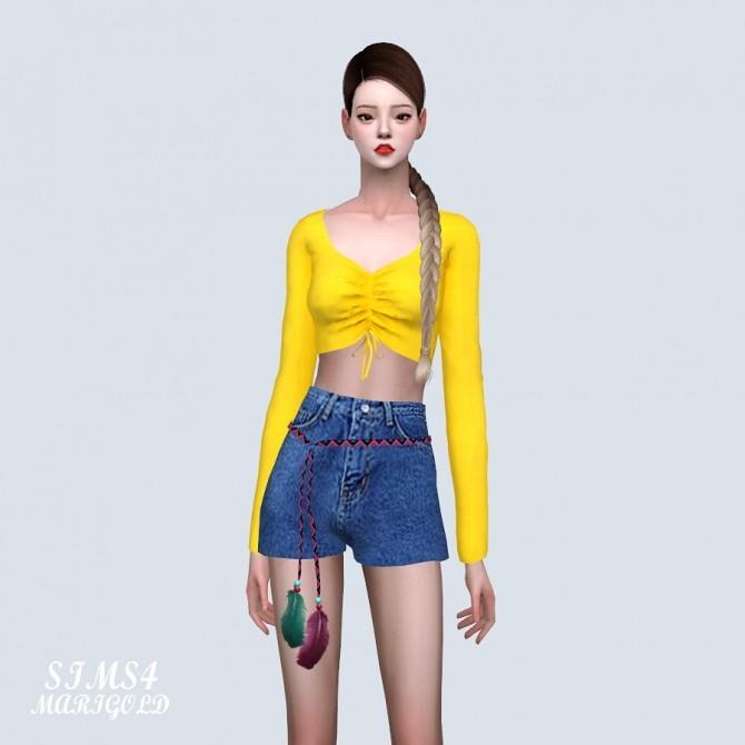 Shirring Long Sleeves Crop Top (P) at Marigold image 11510 670x670 Sims 4 Updates
