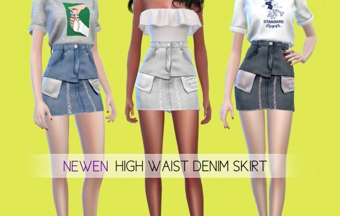 Sims 4 High Waist Denim Skirt at NEWEN
